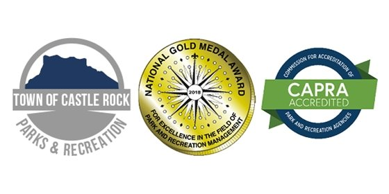 Town of Castle Rock Parks and Recreation logo, NRPA Gold Medal Award logo, and CAPRA Accreditation logo