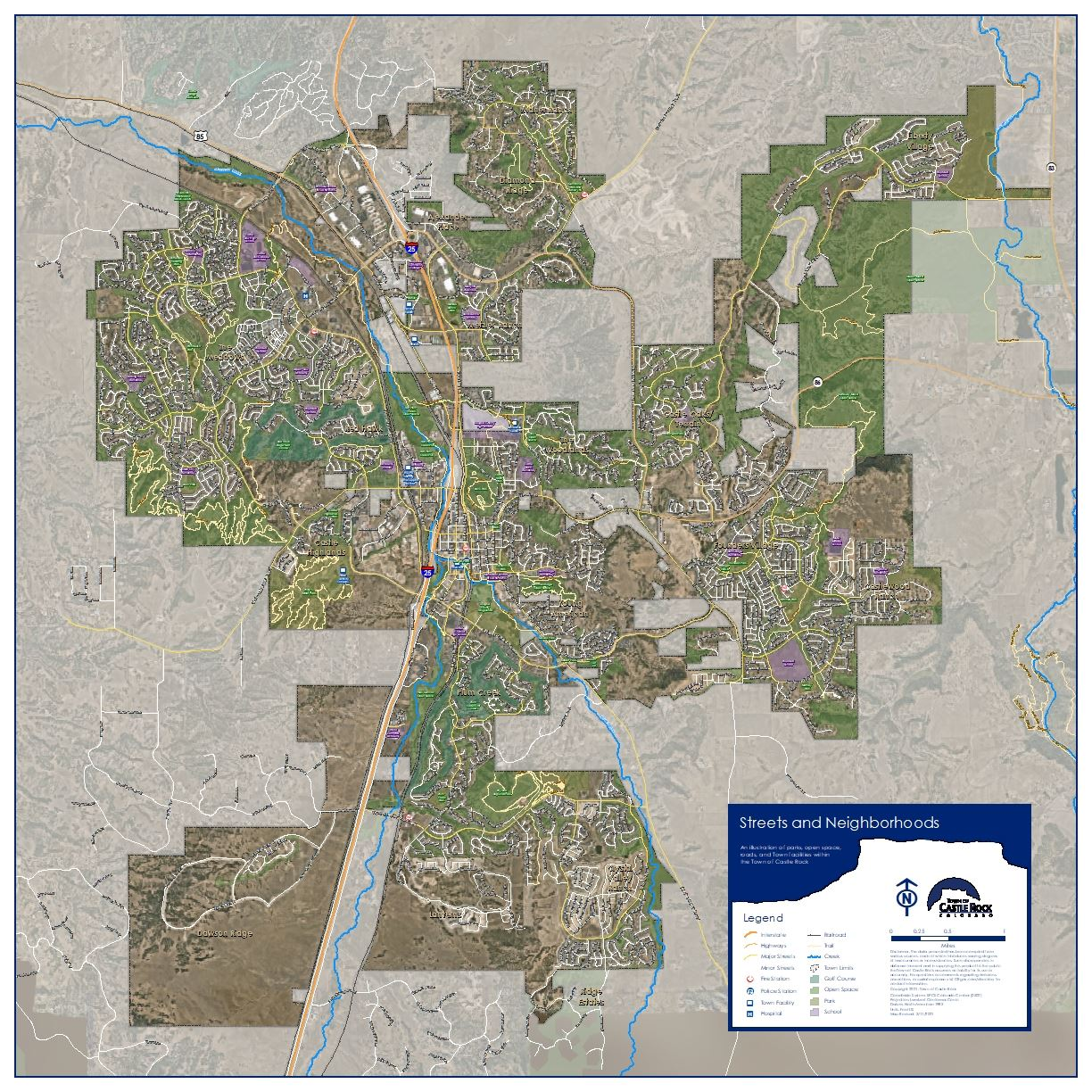 Map of Castle Rock neighborhood streets