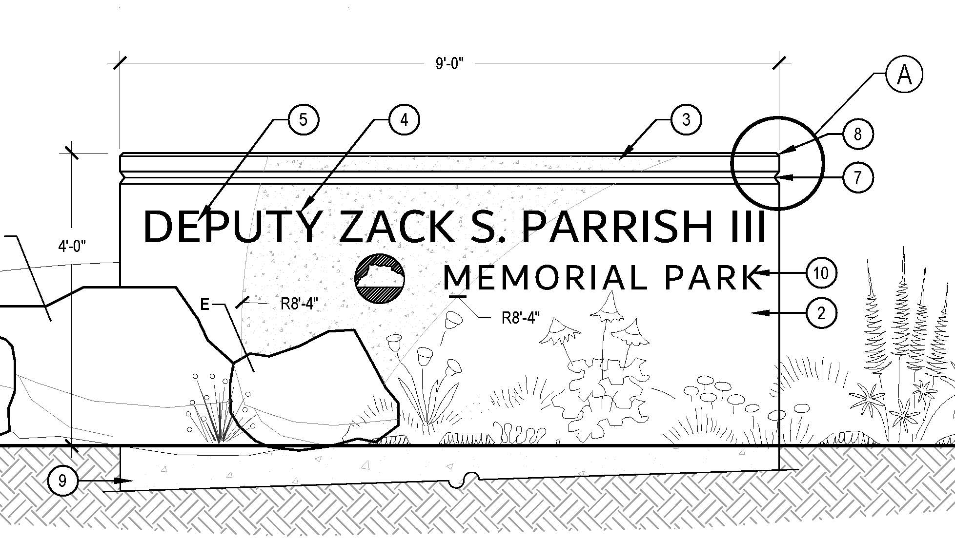 Monument Sign rendering for Zack S. Parrish III Memorial Park