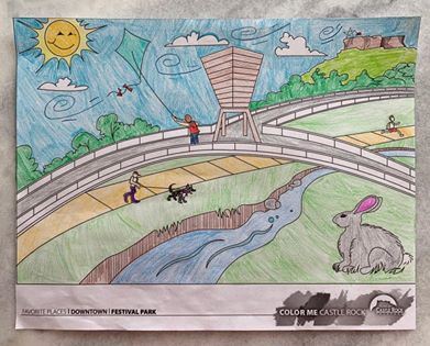Finished coloring page from a Castle Rock resident