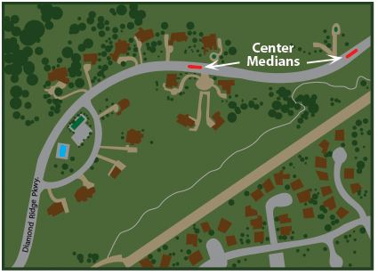 Diamond Ridge Parkway Map and center medians
