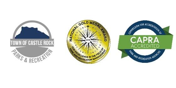 Town of Castle Rock Parks and Recreation logo, NRPA Gold Medal Award logo, CAPRA Accreditation logo