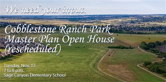 Drone view of Cobblestone Ranch with meeting details
