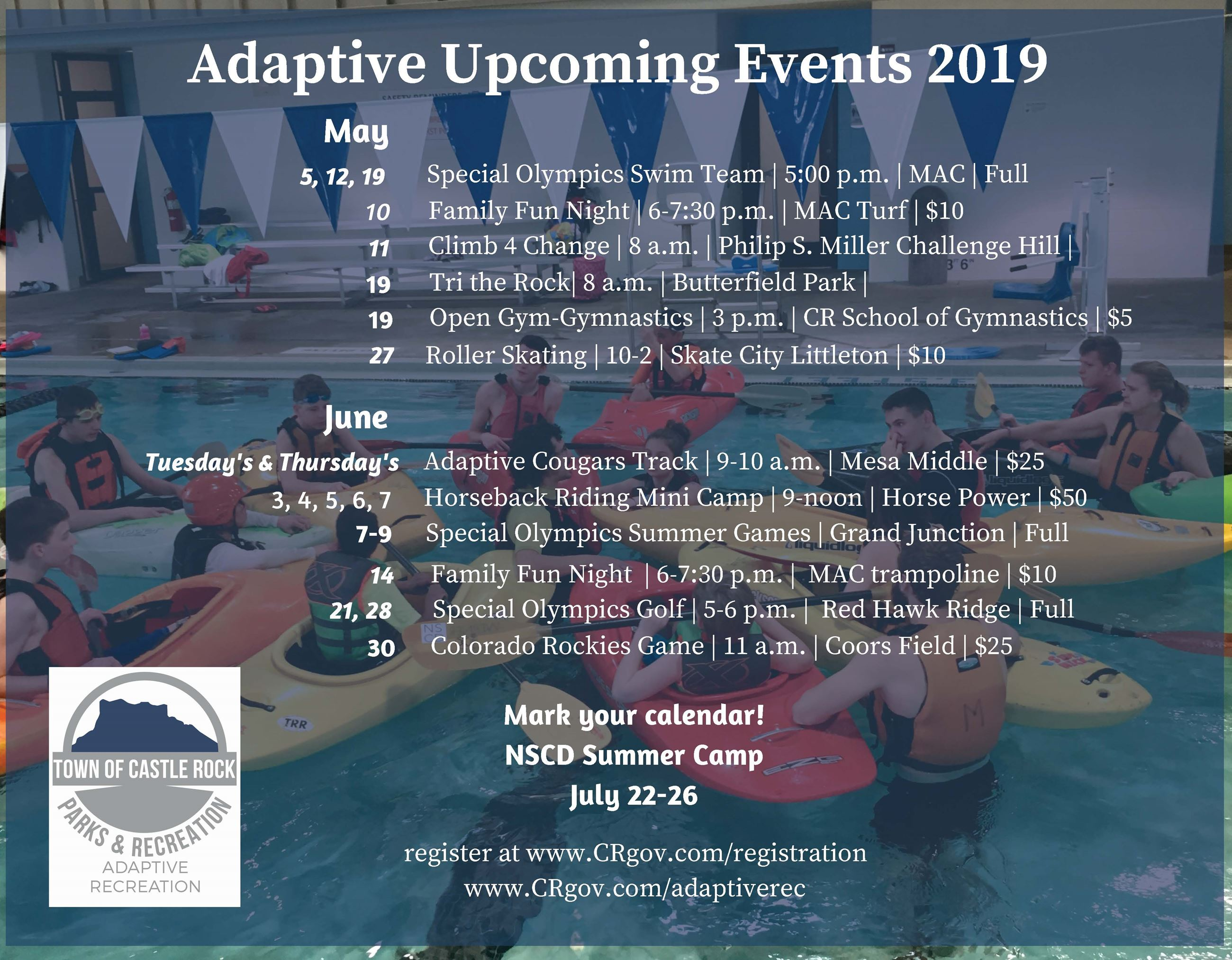 Adaptive Rec May/June schedule of upcoming events