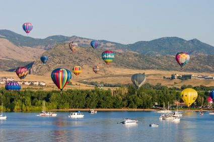 Hot-air balloons flying over Chatfield Reservoir